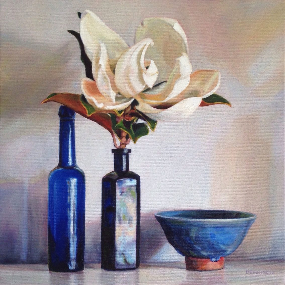Still Life with Little Gem Magnolia and Blue Bottles   Oil on Canvas, 41cm x 41cm