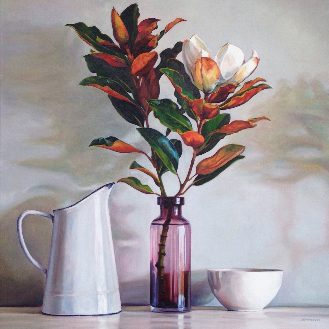 Still Life with White Enamel Jug   Oil on Canvas, 61cm x 61cm