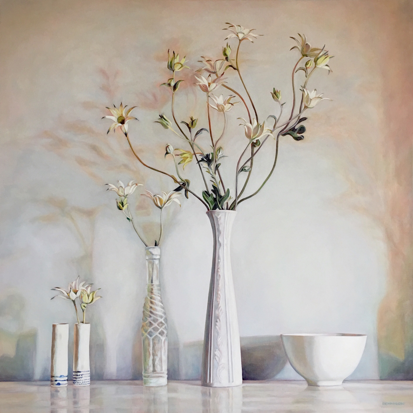 Flannel Flower Still Life   Oil on Linen, 100cm x 100cm