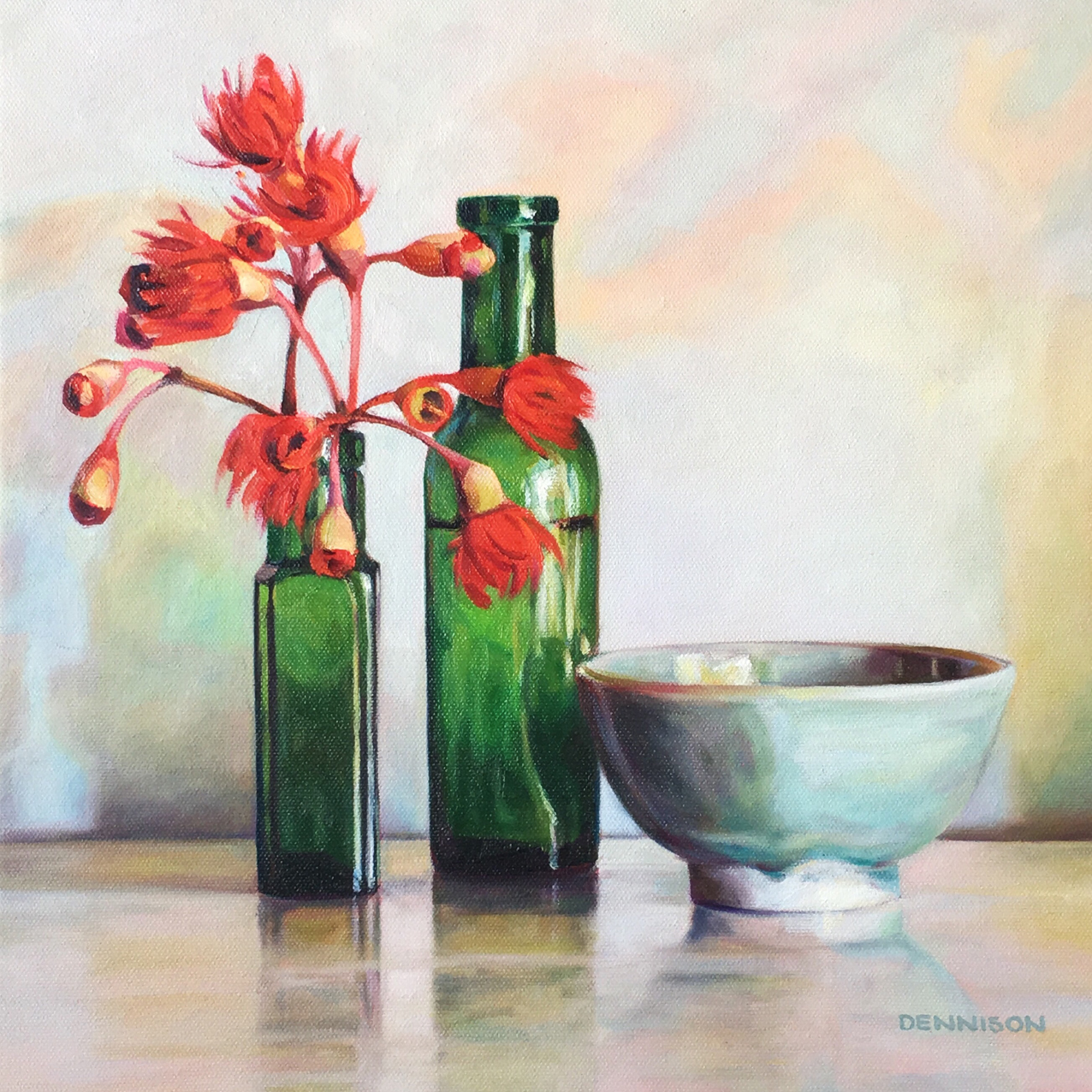 Red Flowering Gum Blossom   Oil on Canvas, 35cm x 35cm