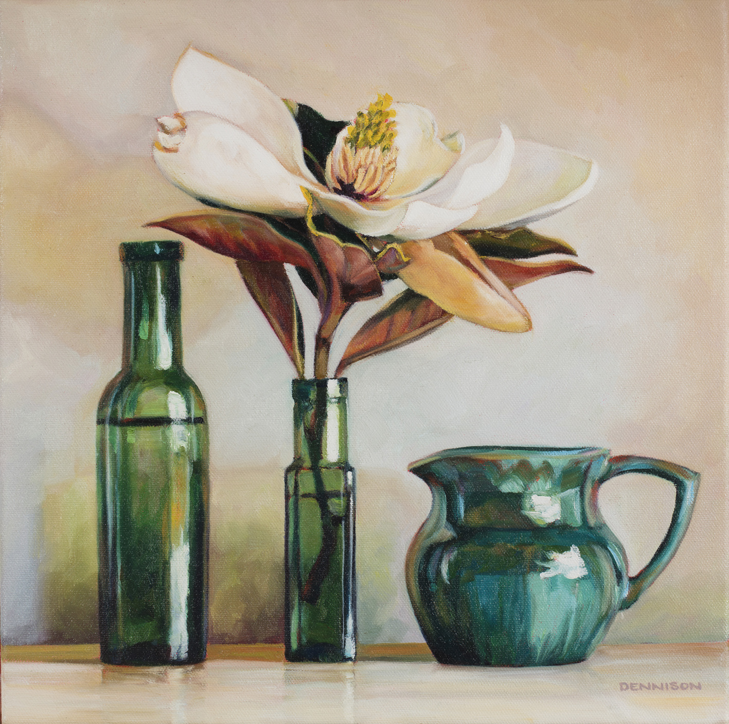 Little Gem Magnolia and Green Bottles   Oil on Canvas, 35cm x 35cm