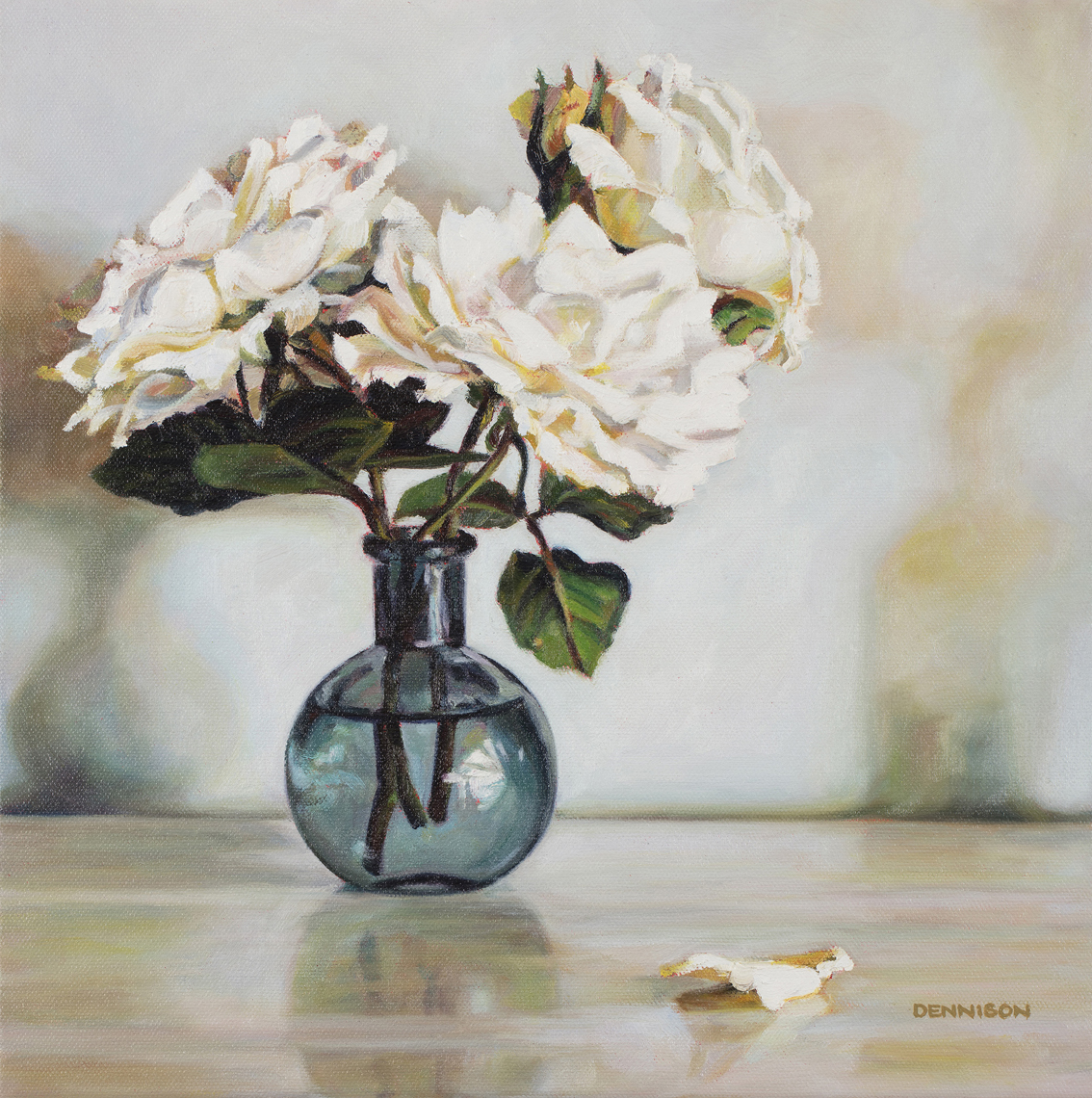 White Roses from the Garden   Oil on Canvas, 36cm x 36cm