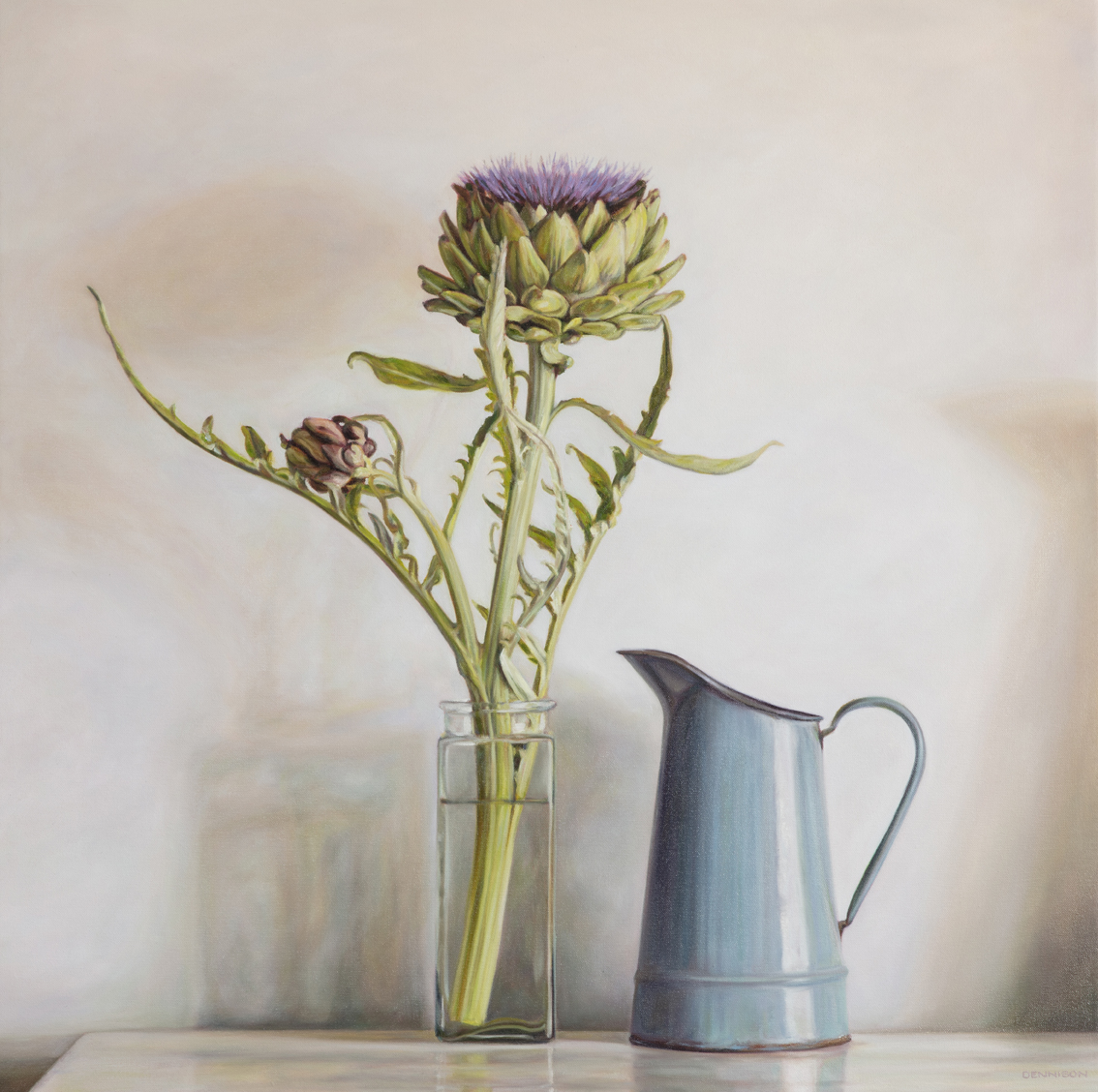 Artichoke Flower and my Mother's Blue Jug   Oil on Canvas, 85 x 85cm, SOLD