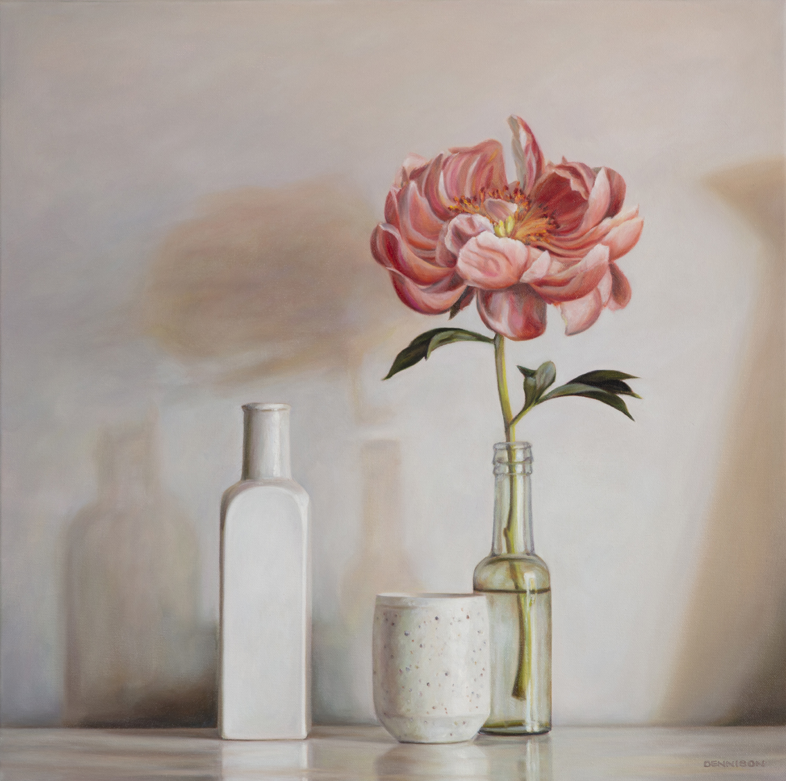 Still Life with Peony   Oil on Canvas, 60 x 60cm, $1900