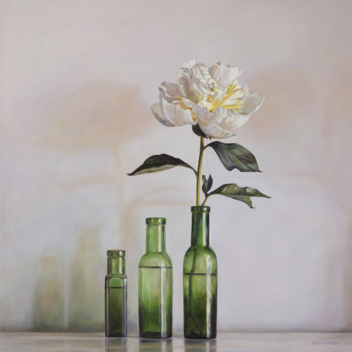 White Peony and Green Bottles   Oil on Canvas. 60 x 60cm, $1900