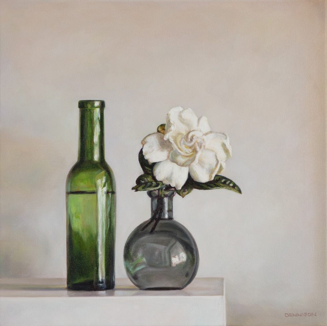 Gardenia and Green Bottle   Oil on Canvas, 40 x 40cm, SOLD