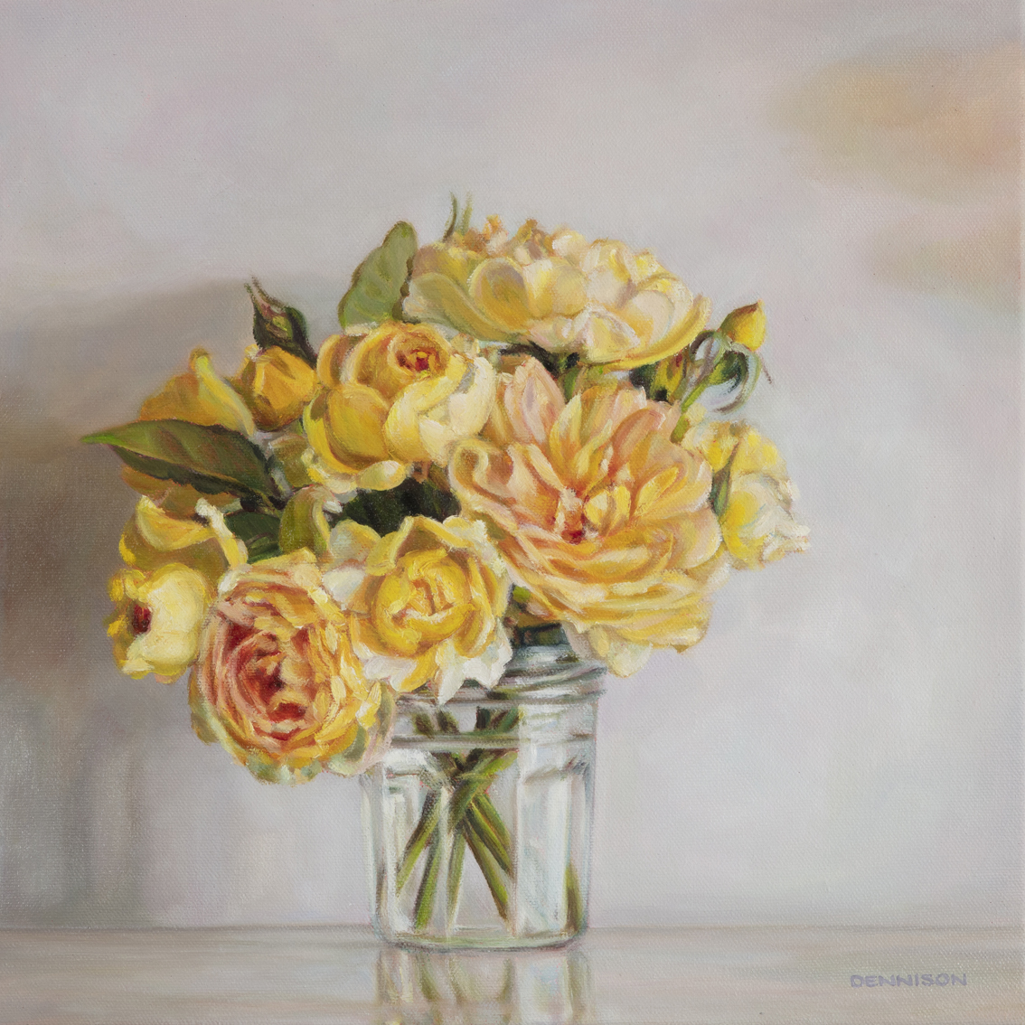 The Yellow Roses we brought from Stoneville   Oil on Canvas, 35 x 35cm, SOLD