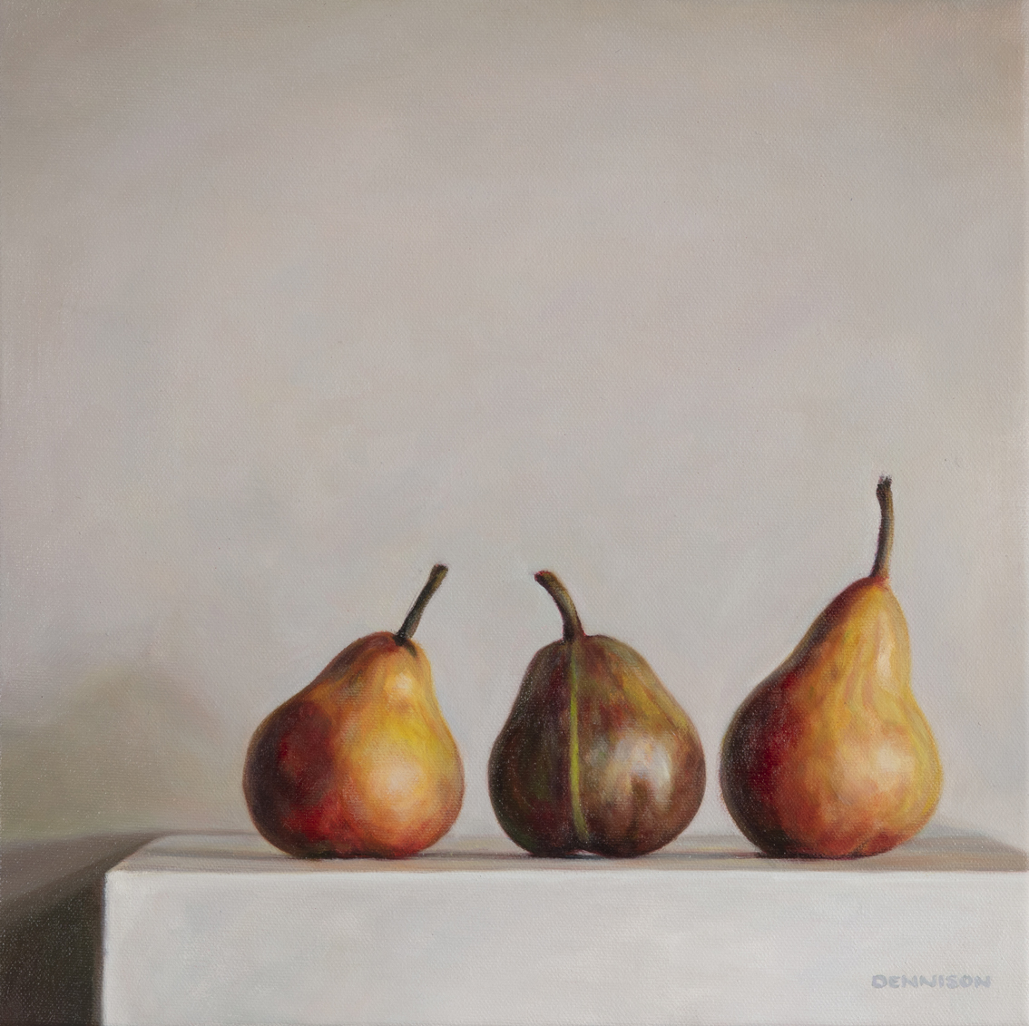 Three Pears and a Stripe   Oil on Canvas, 35 x 35cm, SOLD