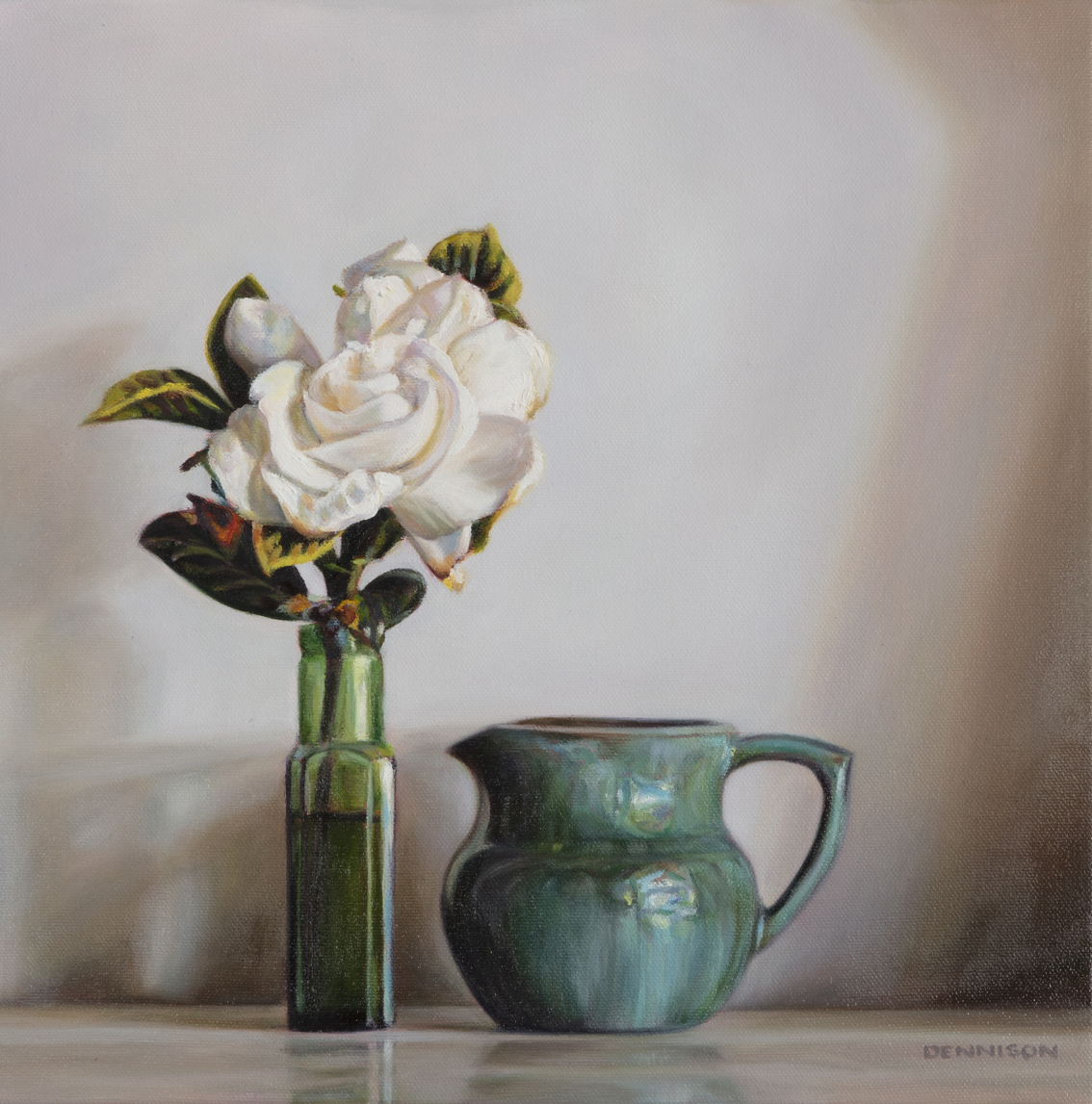 The First Gardenia   Oil on Canvas, 35 x 35cm, SOLD