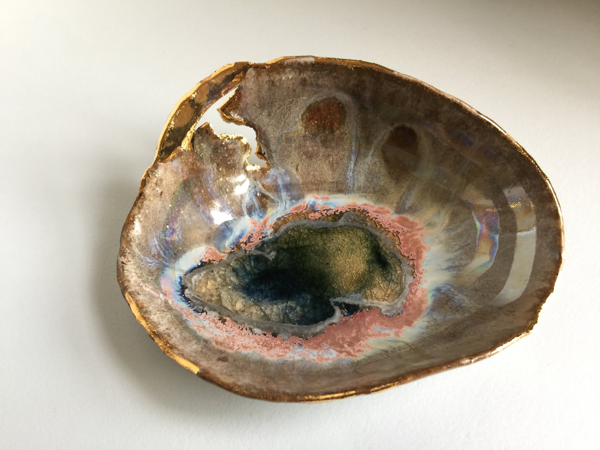 15 Small Dilapidated Iceland Dish with Gold - Blue Lagoon.jpg