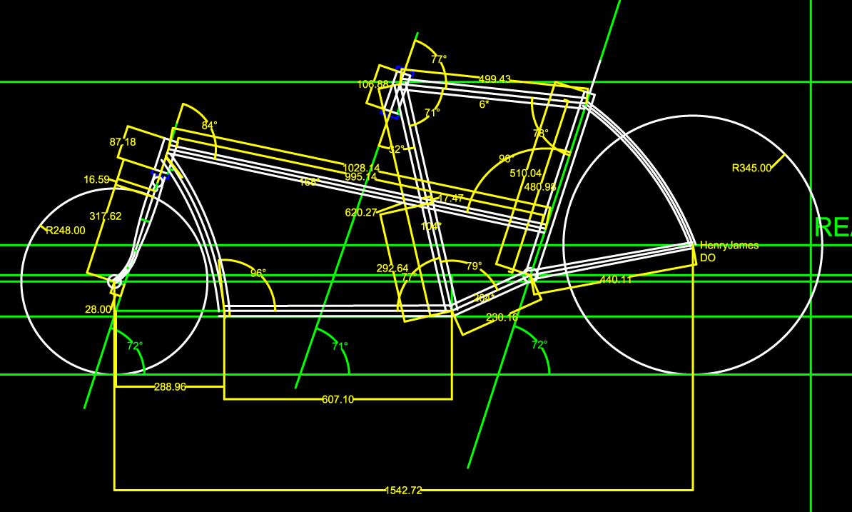 Sample Smallhaul design -- Cargo bikes and anything sightly non-standard is designed in Draftsight, 2-D CAD or with pencil and the Vemco drafting machine on the drafting table. Construction requires drawing multiple views- this is the side view.