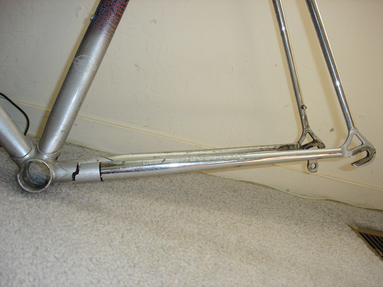 Here it is busted.  A broken left chainstay is less common.