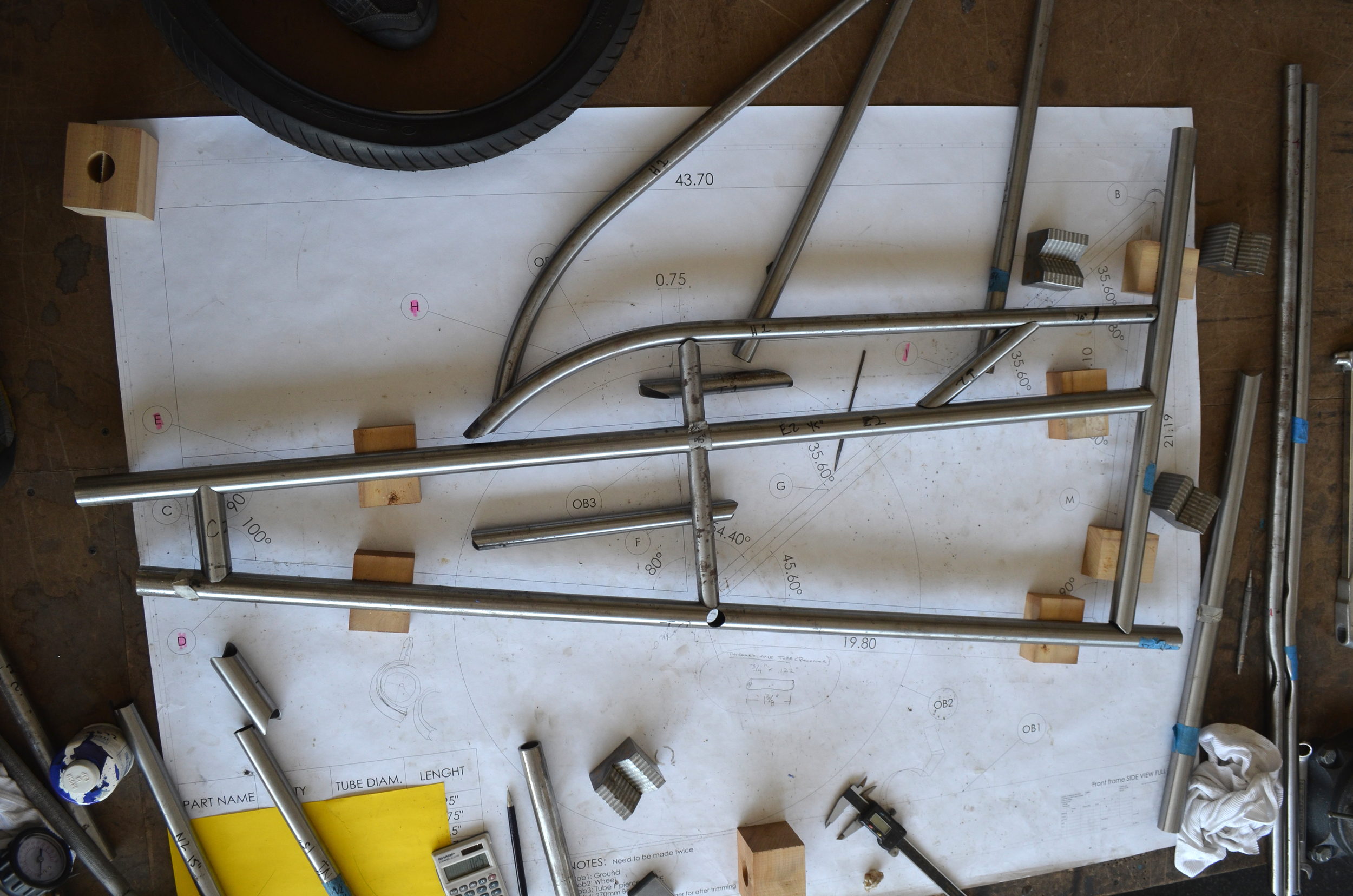 At this point, all the tubes are cut for the side panels and we'll take them down to the brazing shed next friday to lay them out and tack them up (no problem right?)