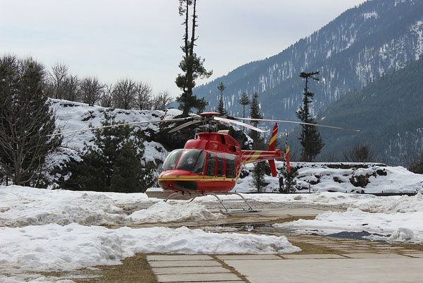 Our Bell 407 awaiting us on the helipad.
