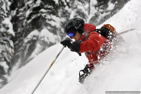 Yours truly loving this powder day at Chatter Creek Cat Skiing over New Year's 2010.