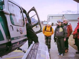 Safety briefing is an essential part of heli skiing.