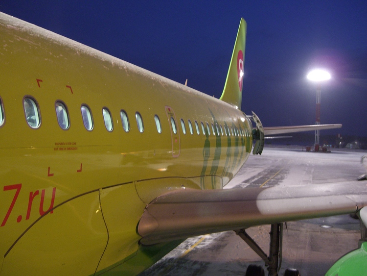 S7 'Siberian' Airlines on a cold winters night enroute for Sochi