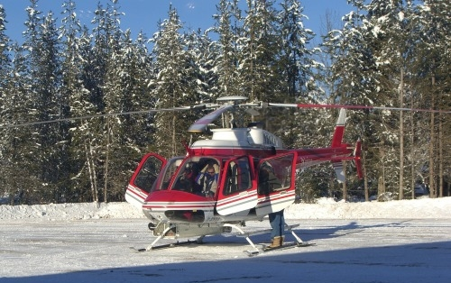 Get there in style- Chatter Creek Cat Skiing Heli Transfer