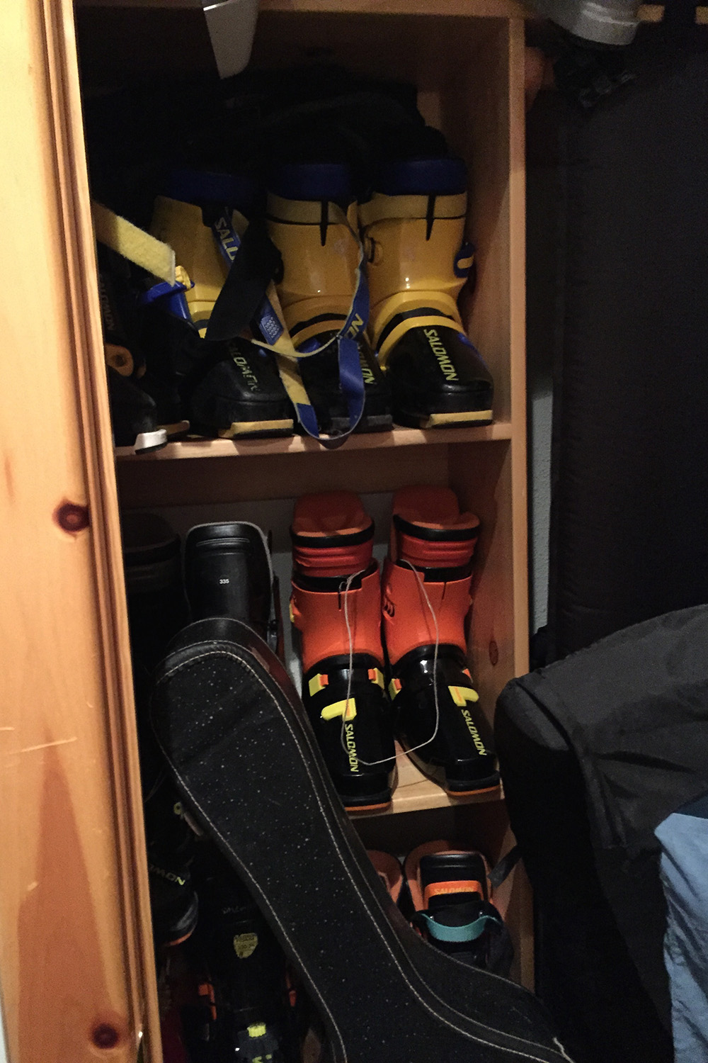 Some of his original Salomon rear entry boots.