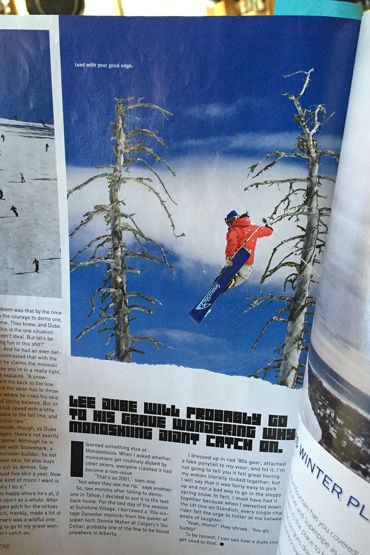Lee Dube hucking air for a magazine shoot.