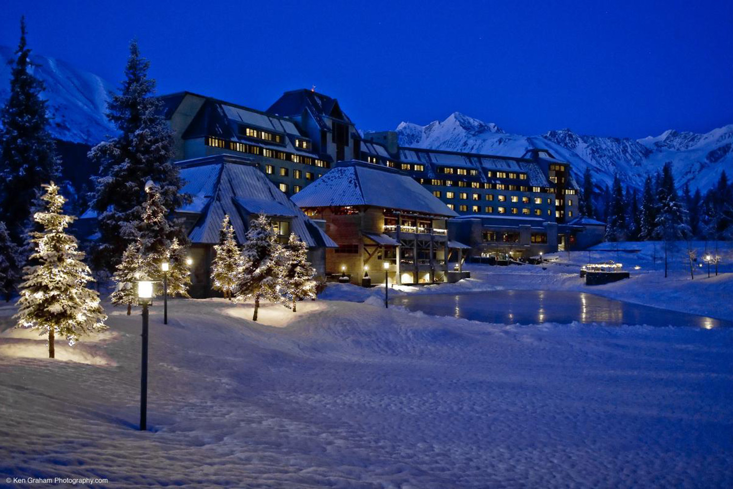 Stay at the luxurious Hotel Alyeska.