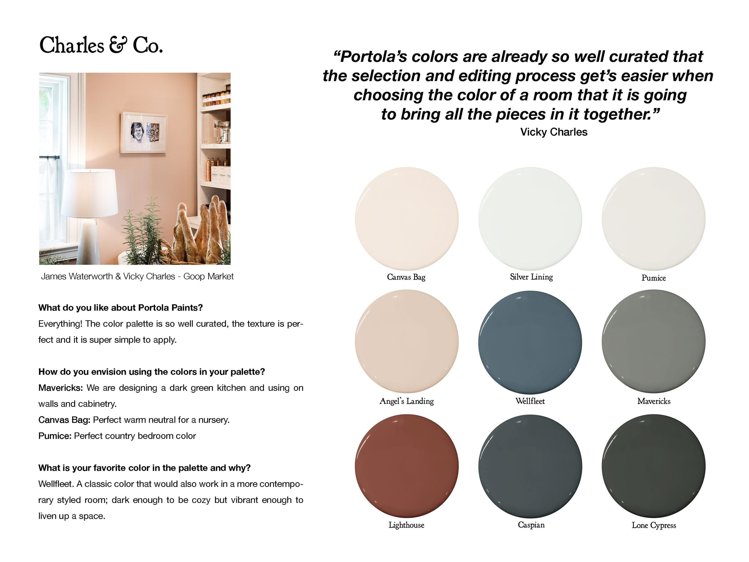 Follow Charles & Co:  charlesandco.com ,  instagram.com/charlesandcodesign   Color Picks:  Canvas Bag ,  Silver Lining ,  Pumice ,  Angel's Landing ,  Wellfleet ,  Mavericks ,  Lighthouse ,  Caspian ,  Lone Cypress