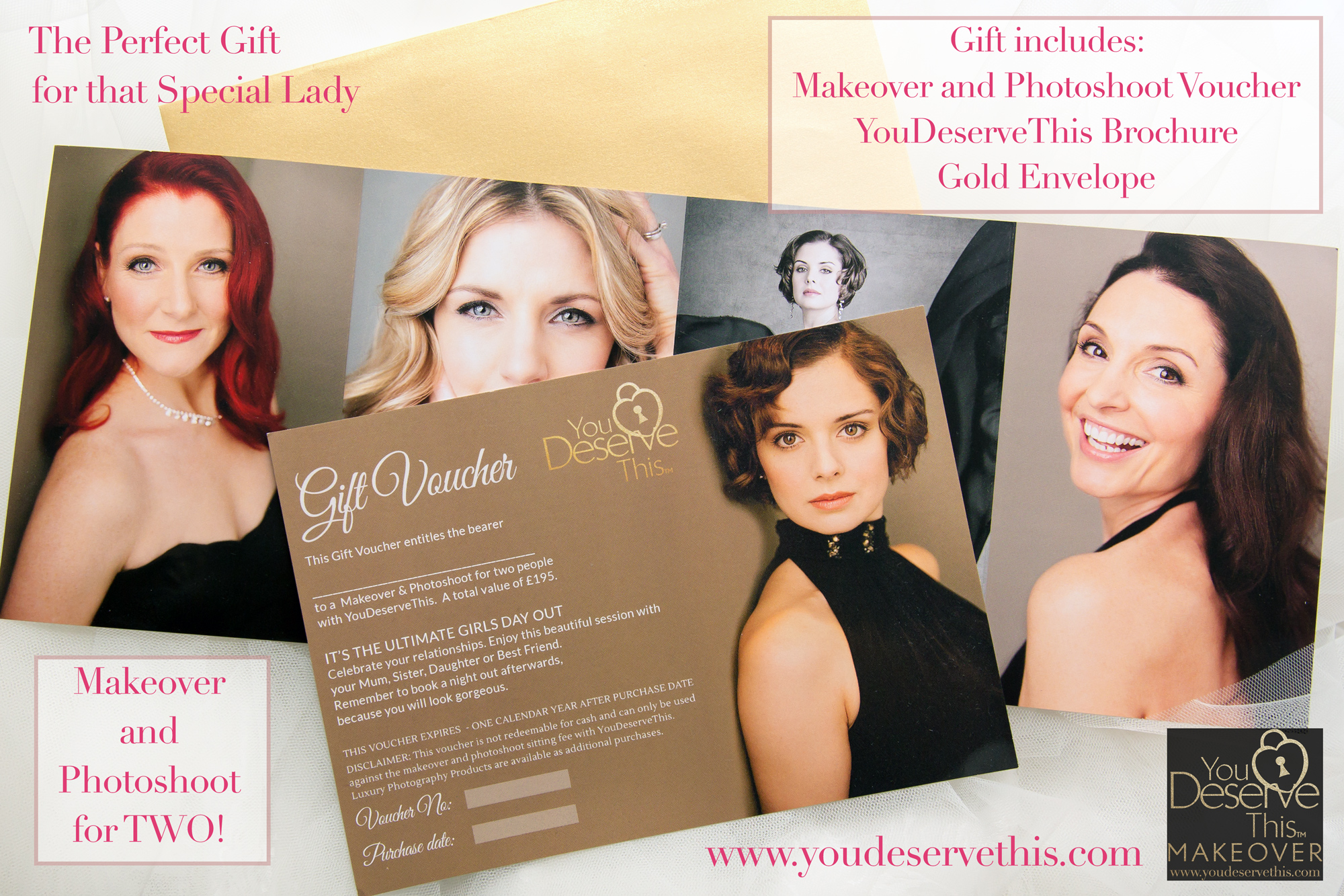 Gift Voucher for Makeover and Photoshoot for 2. The perfect Valentine's Gift for the special lady in your life. Beautiful portraits she is proud to share with family and friends are priceless. Giver her the gift of Beautiful Portraits. You Deserve This Makeover and Photoshoot Studio, Tadley, Hampshire www.youdeservethis.com