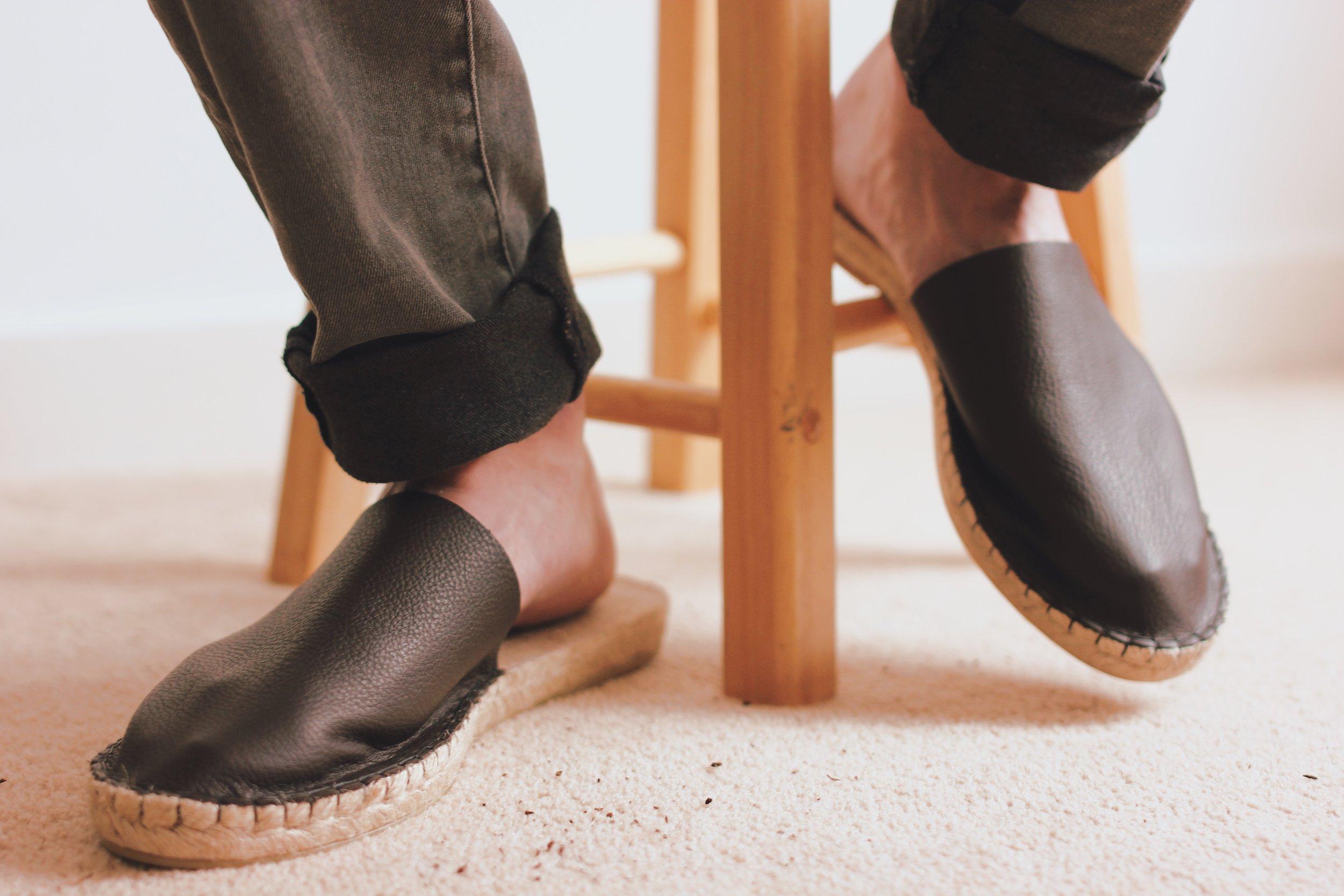 Brown Leather Slippers Stool Juta.jpg
