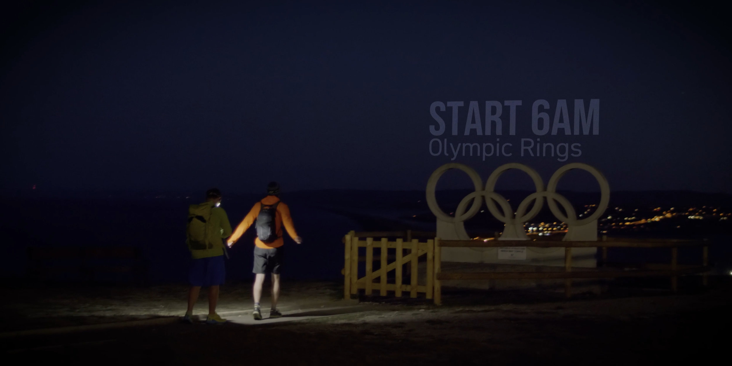 The start line by the Olympic Rings