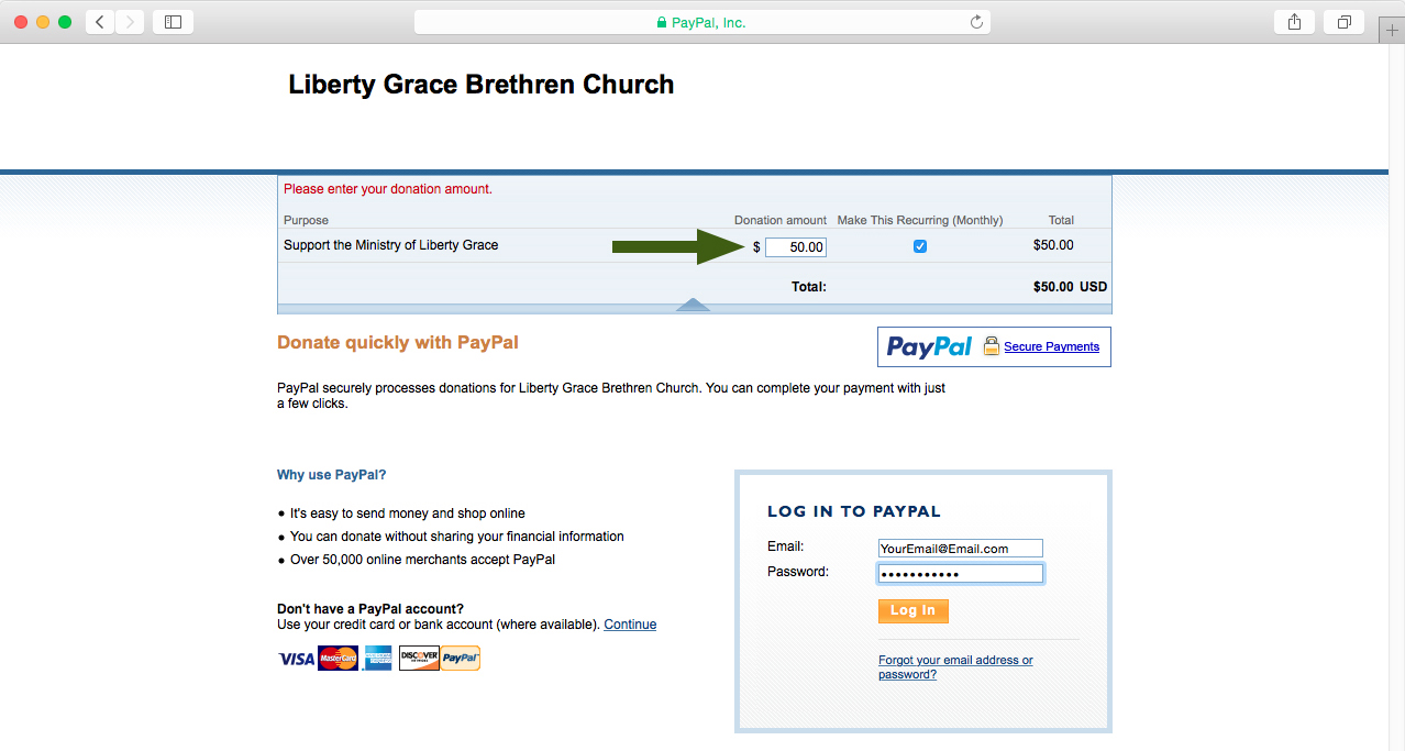 1. Enter donation amount.