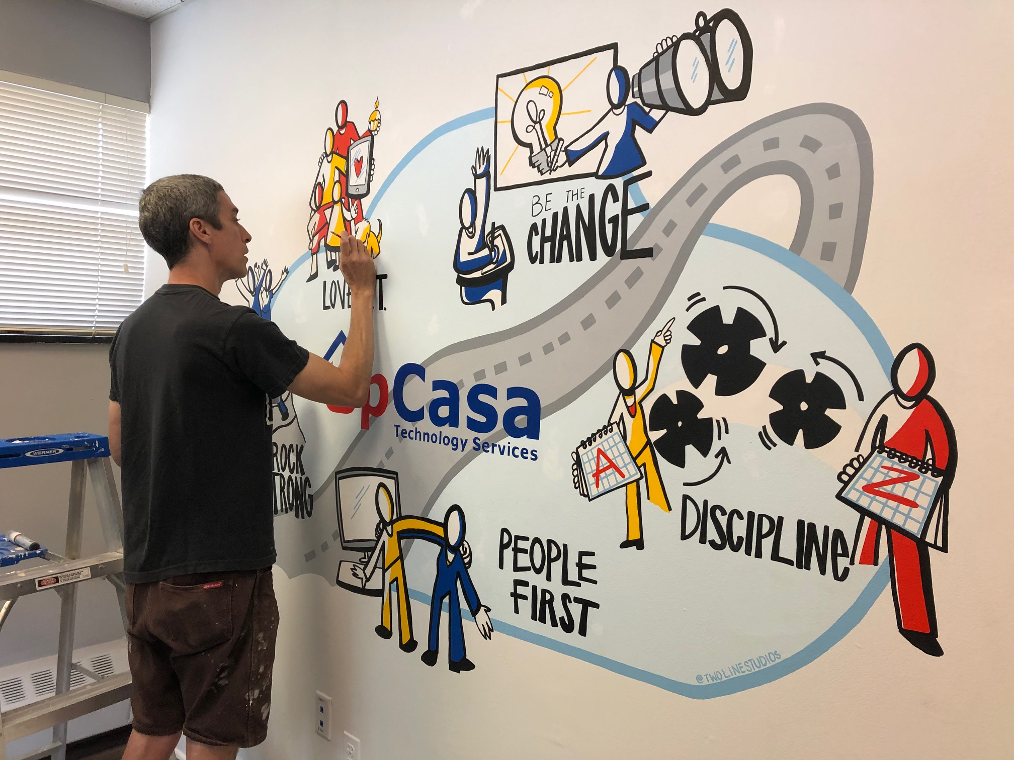 New mural at the offices of UpCasa Technology Services.  The piece is a collaboration with Heather Willems of Two Line Studios, who captured the essence of UpCasa's company culture in her illustration. I was fortunate enough to paint the piece at their offices in Englewood, NJ. Thanks to everyone involved!!  Discipline, People First, Rock Strong, Love I.T... Be The Change.