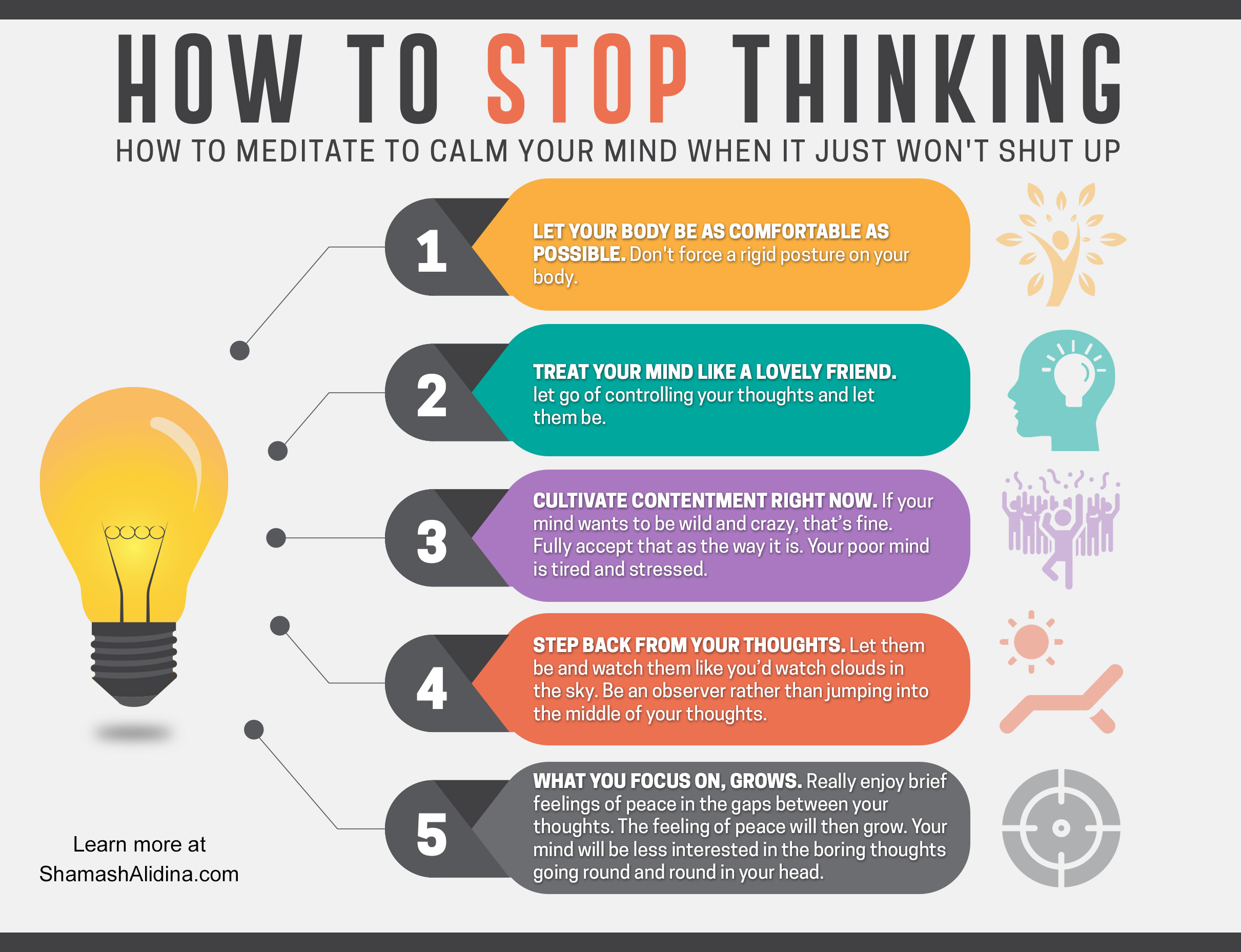 infographic stop thinking calm your mind meditation