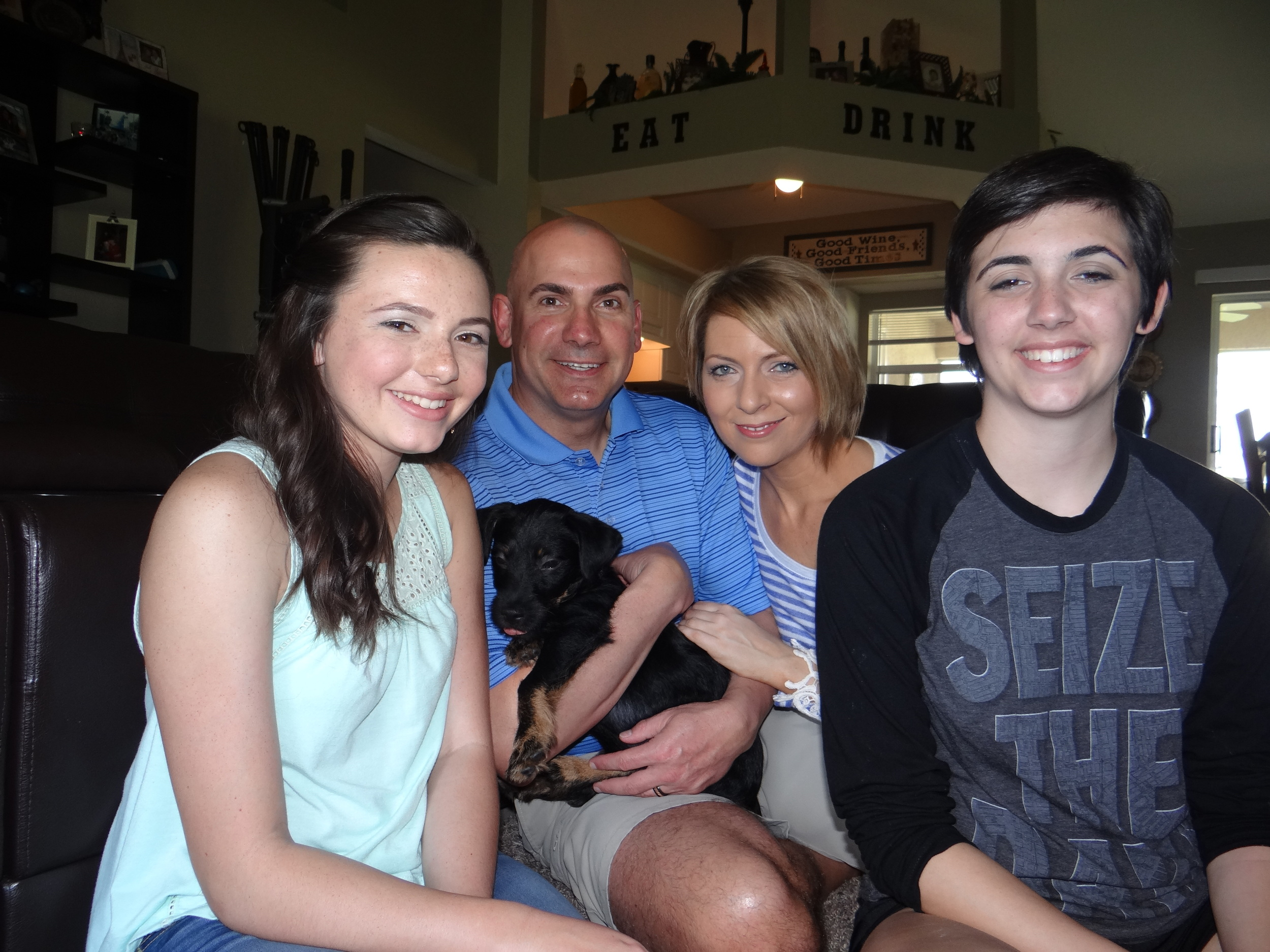 TEAM CASTNER in April 2015...right after we adopted, our new dog, Auggie!
