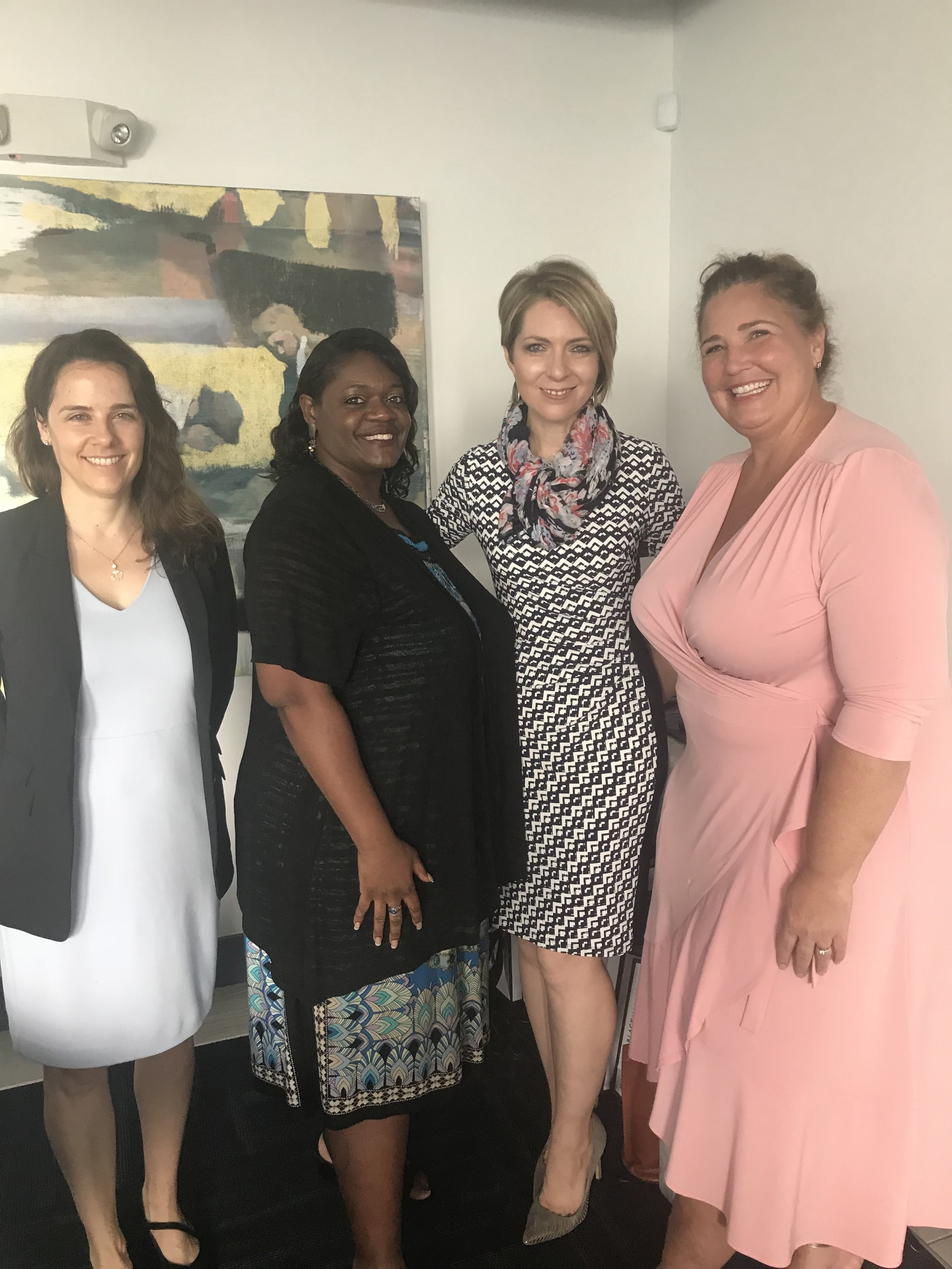 Emily Slaby, Barbara Melvin, Erica Castner and Kristy Knupp at the Dress for Success SW Florida WETES Graduation at Welch Companies of Florida on August 21, 2018