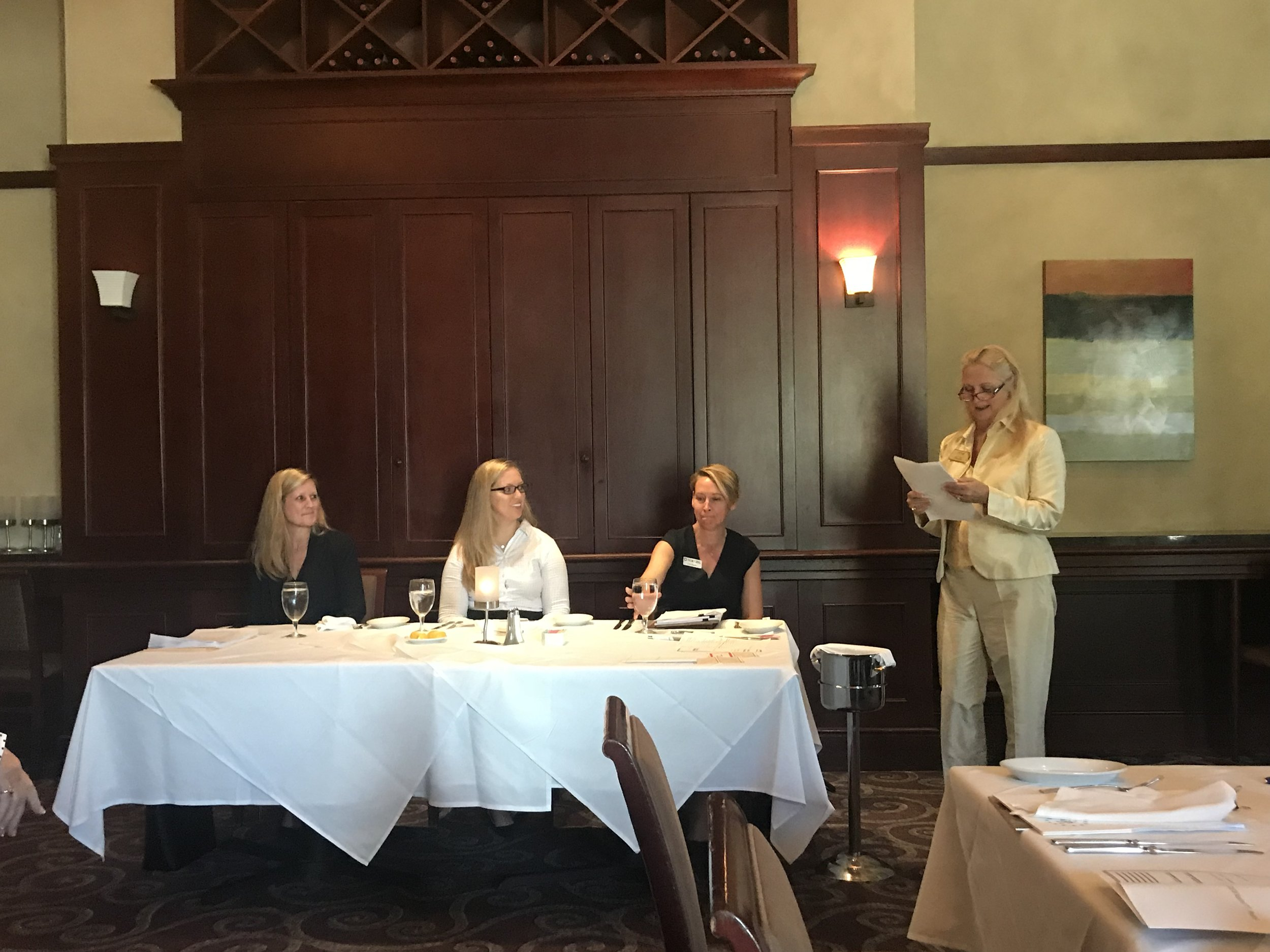 Cheryl Hastings, Jennifer Cachon Juchnowicz and Lori Moore are the featured panelists at the Commercial Real Estate Women (CREW) Luncheon at Ruth Chris Steakhouse on August 15, 2018