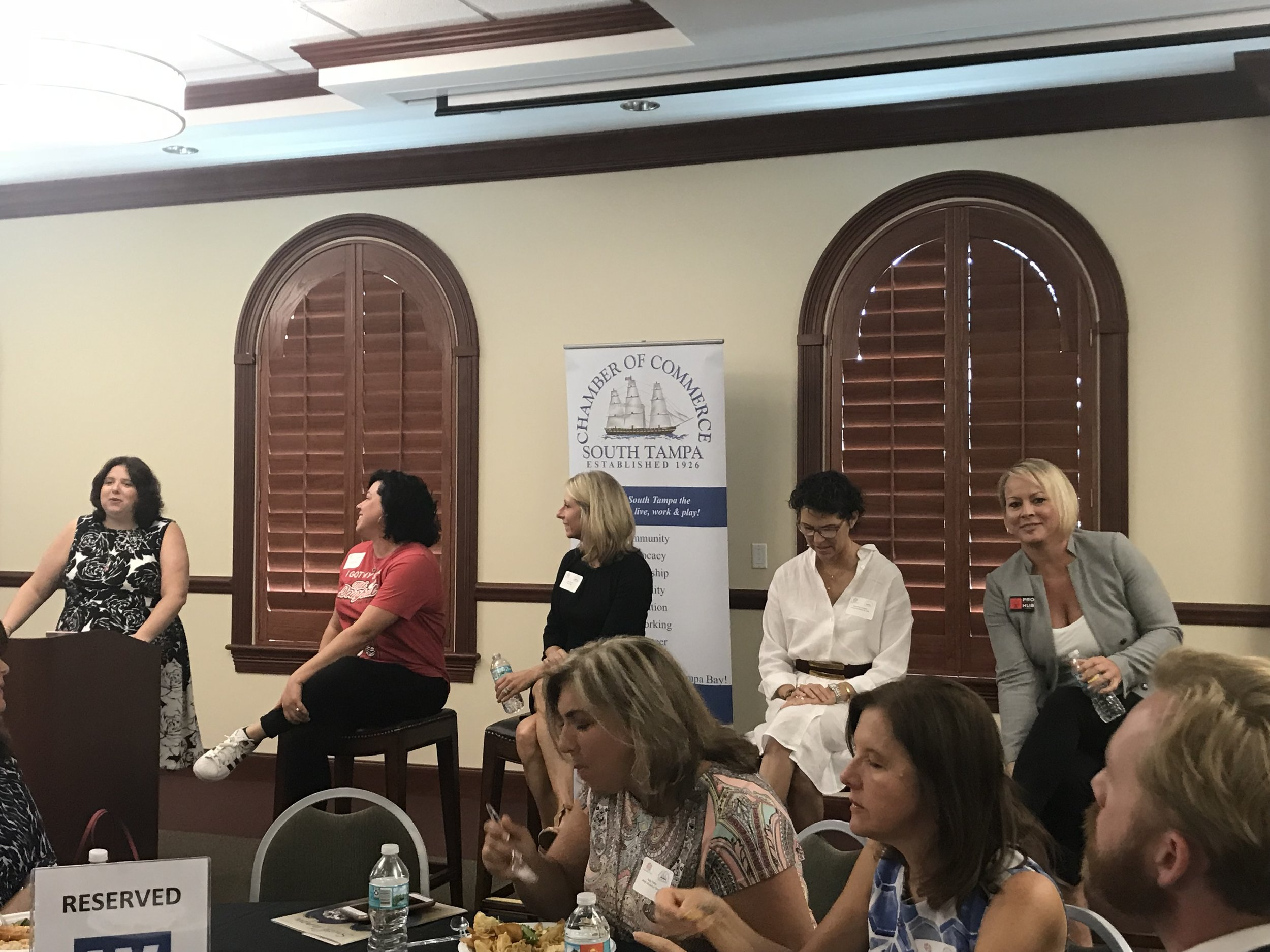 "Panelists of the Working Women of Tampa Bay ""Power Lunch: Women Mean Business"" at Chester H. Ferguson Law Center in Tampa on July 12, 2018"