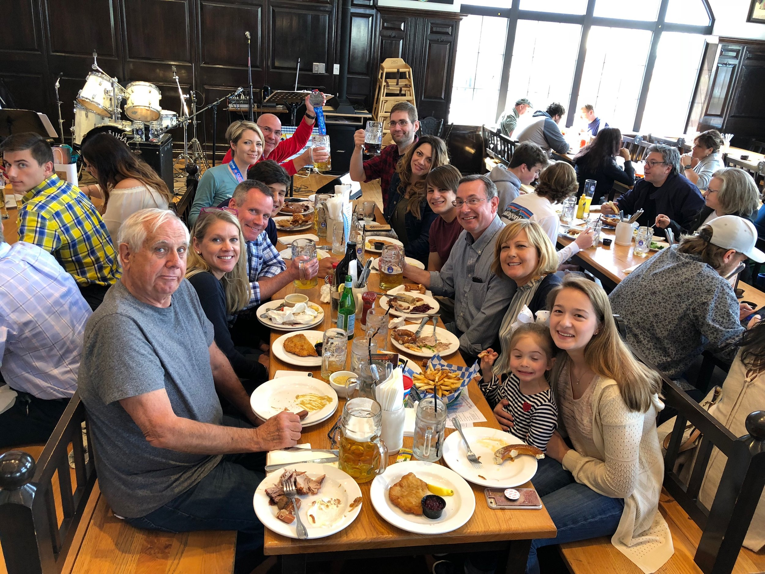 Team Castner and friends celebrating Erica and Ed's Cleveland Marathon finish on May 20, 2018.