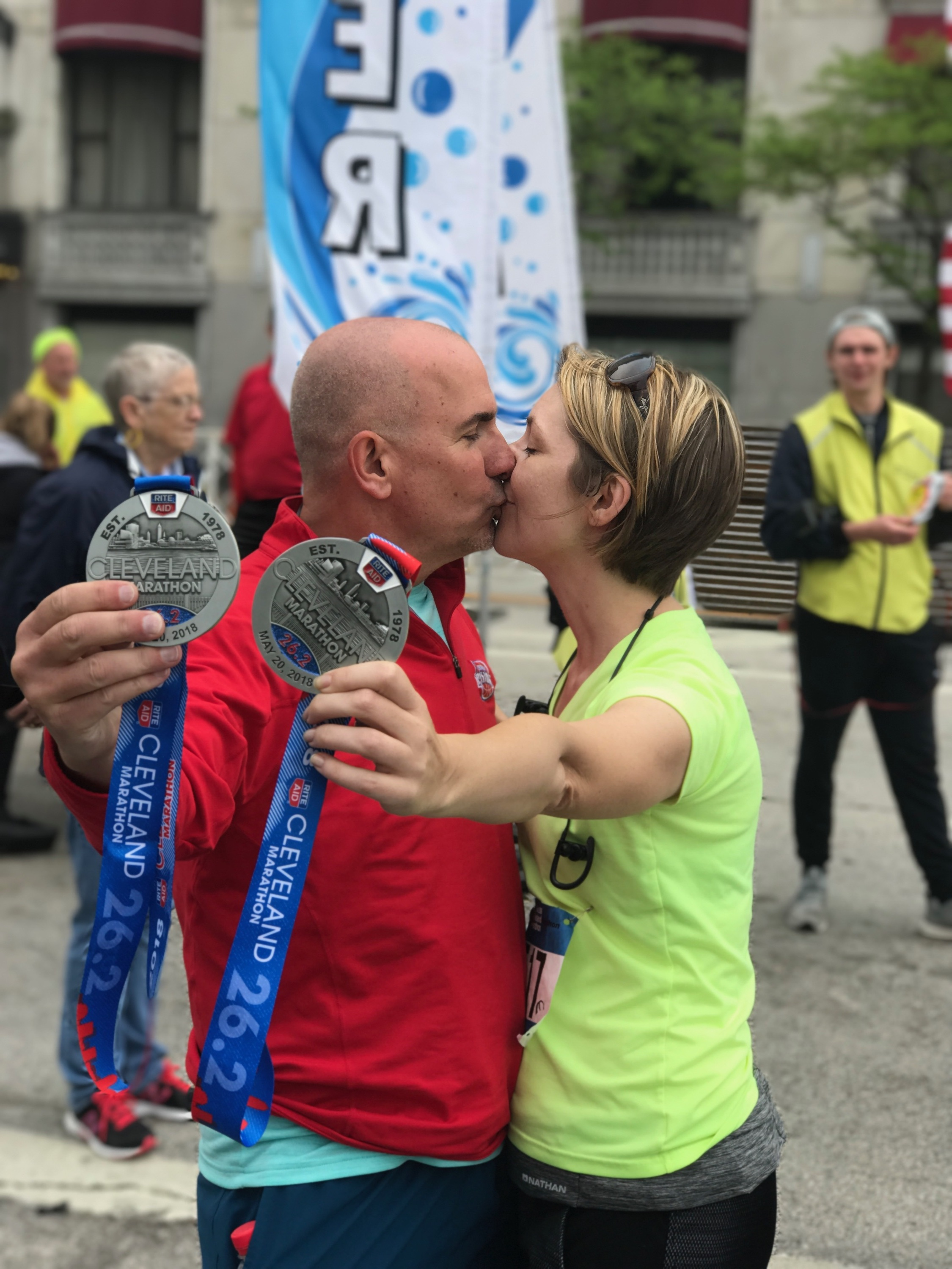 We did it! Ed and Erica Castner finish the Cleveland Marathon race within 35 minutes of each other.