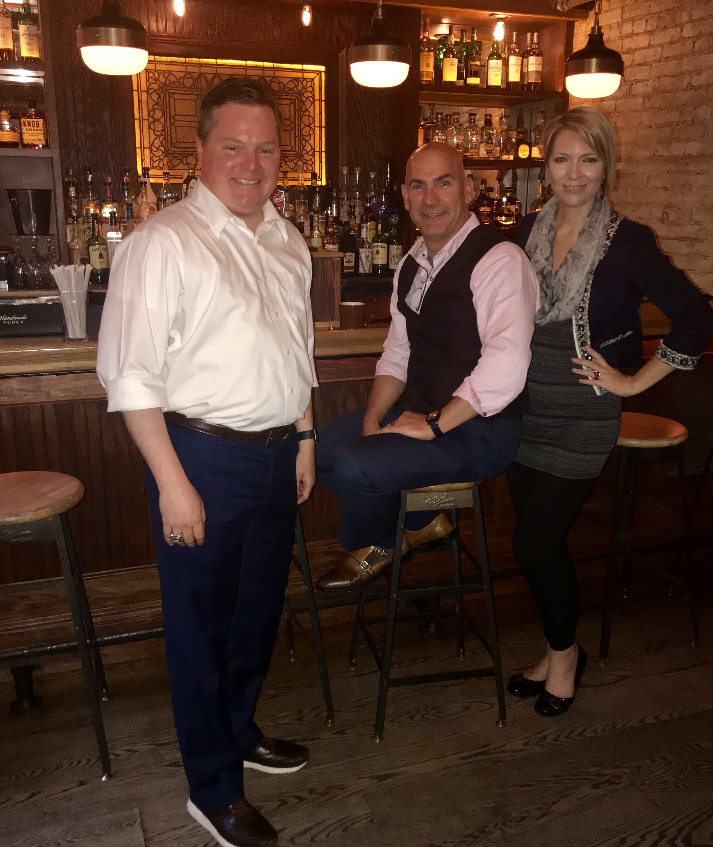 Brandon Leopoldus, Ed Castner and Erica Castner right before FUEL NYC event at Gem Saloon NYC on May 16, 2018.