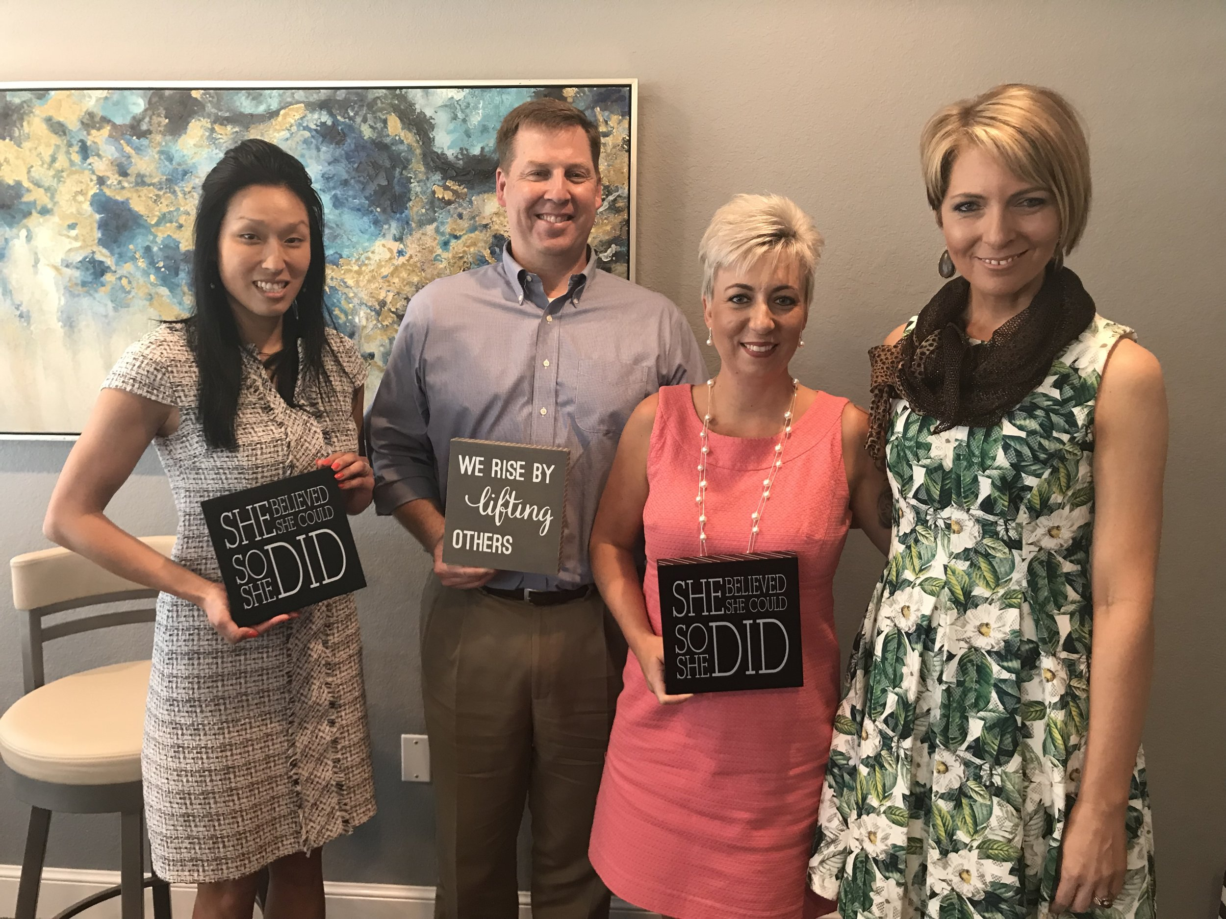"Pippa Greenberg, Matt Becker, Michele DeNio and Erica Castner at the ""Maximize Your Work Day"" event at Charleston on 66 in Largo on April 18, 2018."