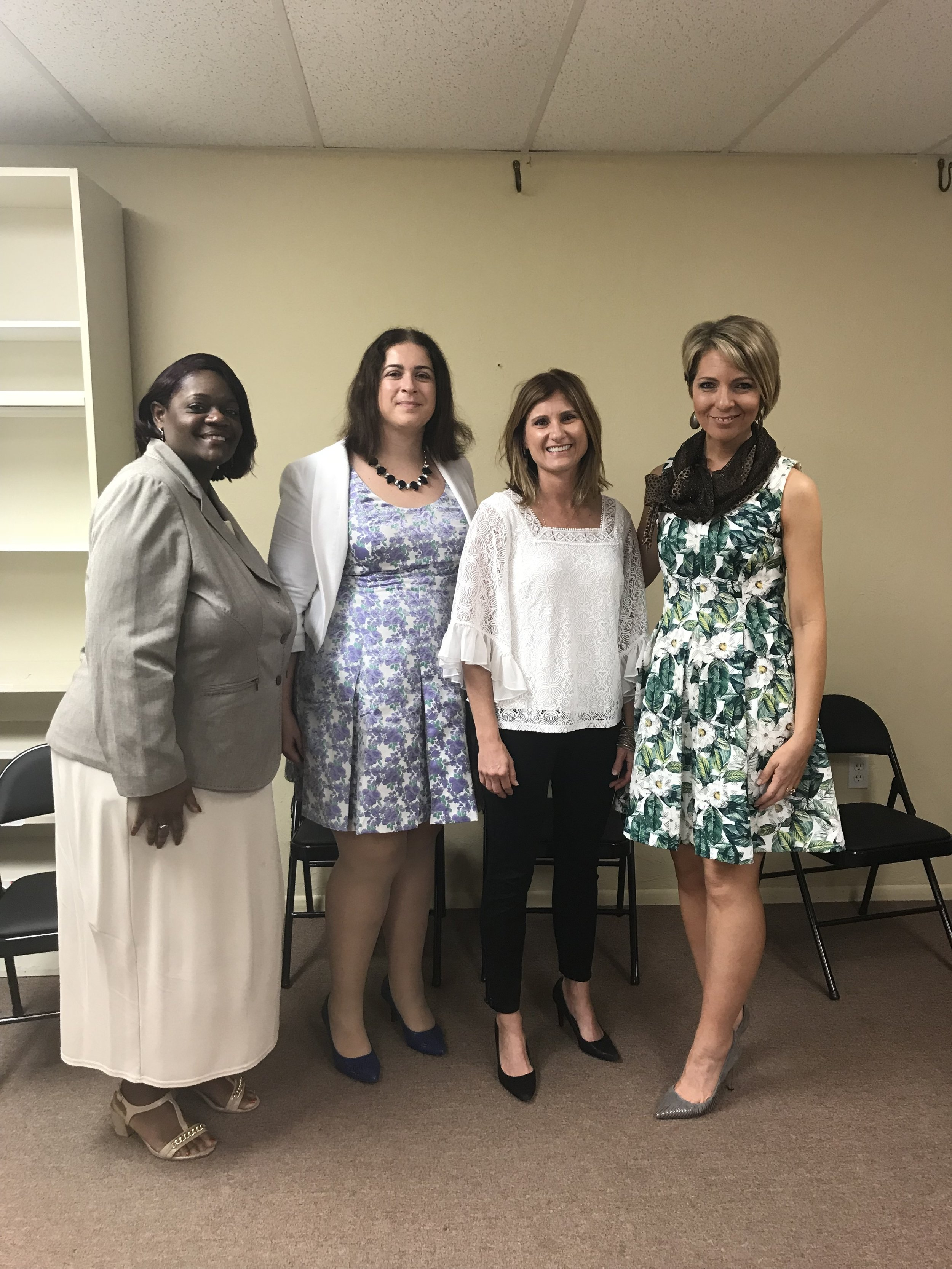 Barbara Melvin, Cheryl Reynolds, Angie Rogaliner and Erica Castner at the Dress for Success SW Florida WETES Graduation in Fort Myers - April 18, 2018.