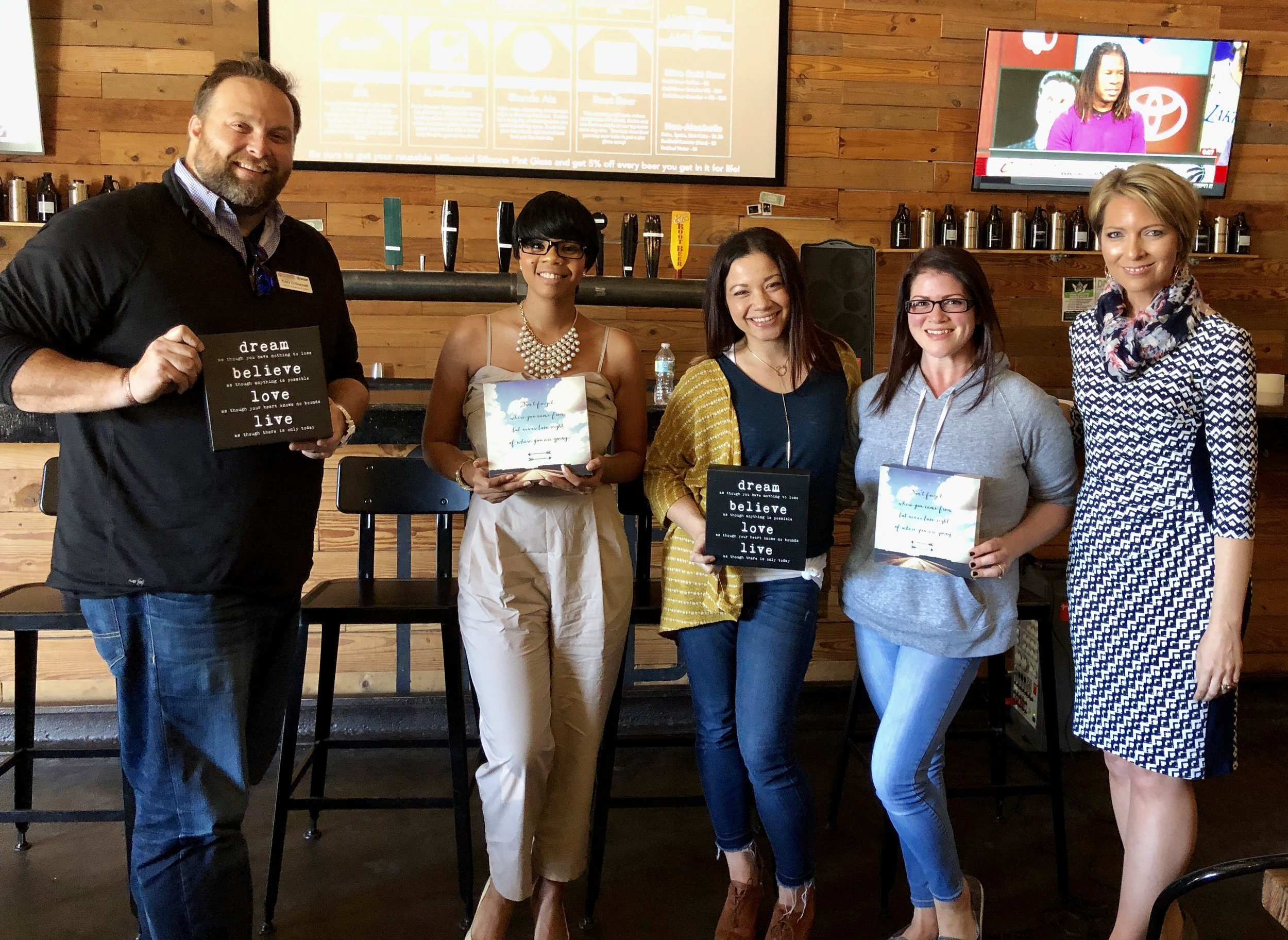 Cory O'Donnell, Charlene Towne, Amber Cebull, Jessica Smith and Erica Castner at the Expand Your Presence event at Millennial Brewing in Fort Myers, FL on March 22, 2018.