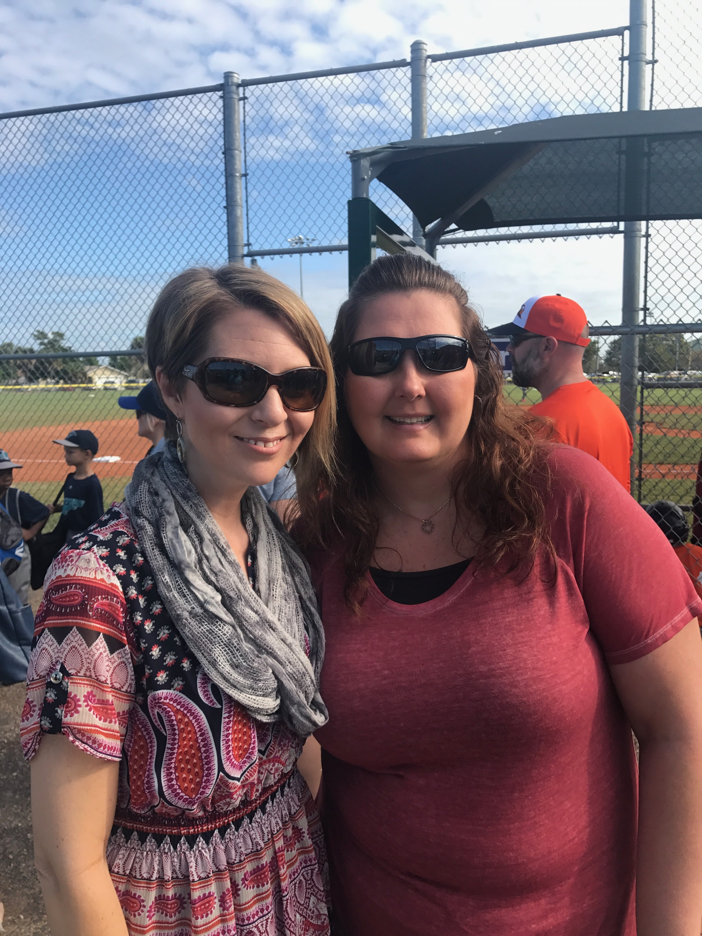 Erica Castner and Liz Nyce. Liz was Erica's first boss in Florida and invited Erica to sing the National Anthem at her son's baseball season kick-off in Cape Coral, FL on February 24, 2018.