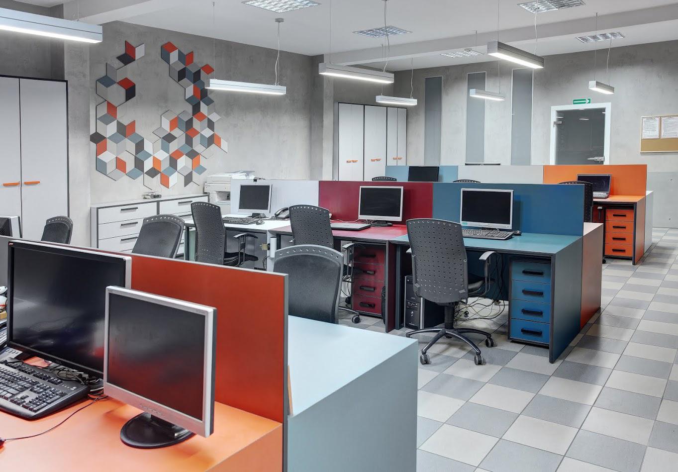 Projekt wnętrz biura open space