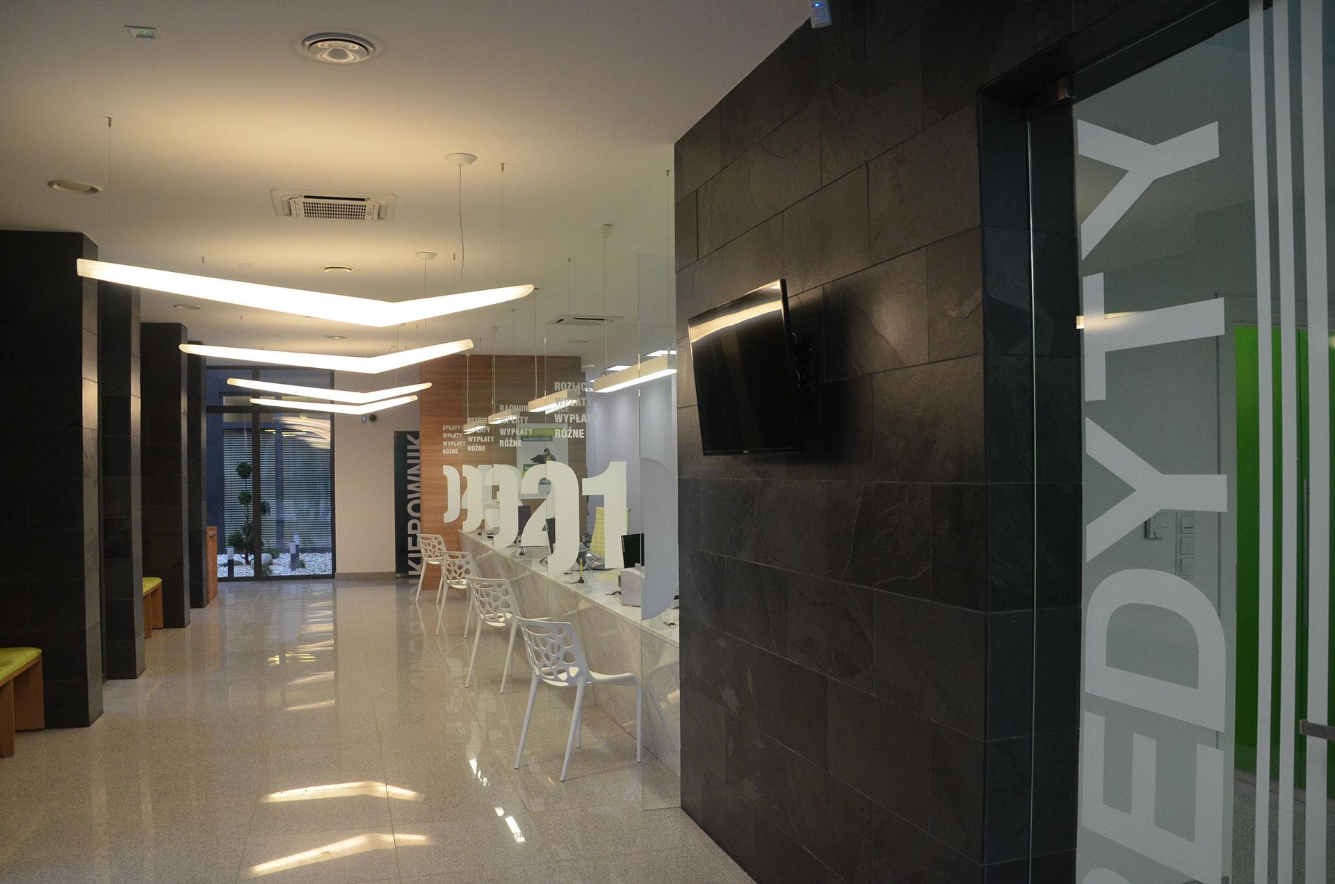 Projekt sali obsługi banku