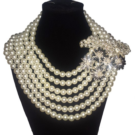 Bridal pearls 1-6 strand size 20 pearl necklace