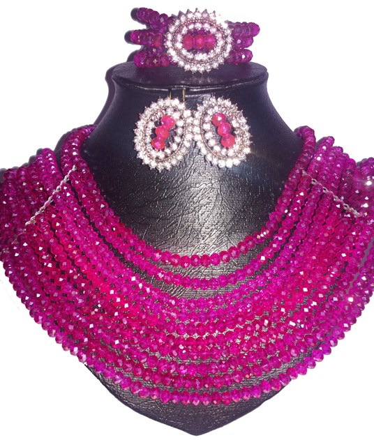 Pink multi strand crystal necklace