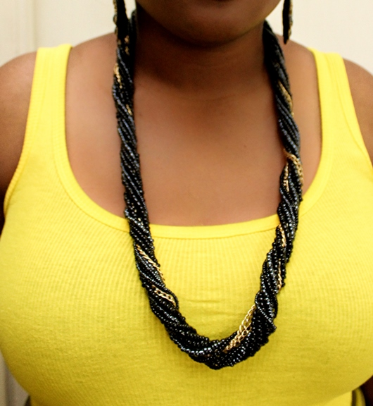 Twisted black bead and chain matinee sandbead