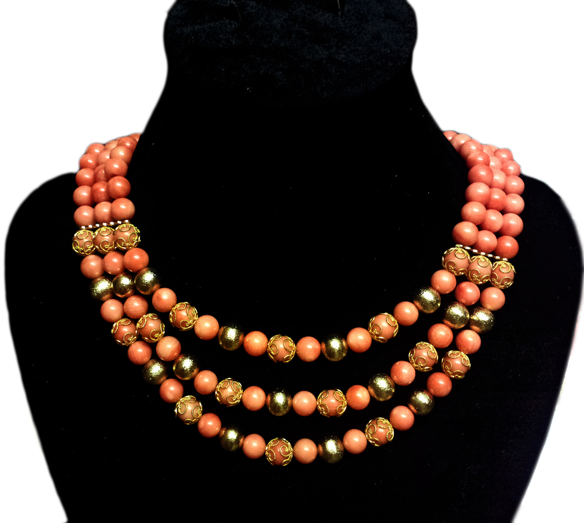 3 strand peach coral and gold without pendant also available in red and silver.jpg