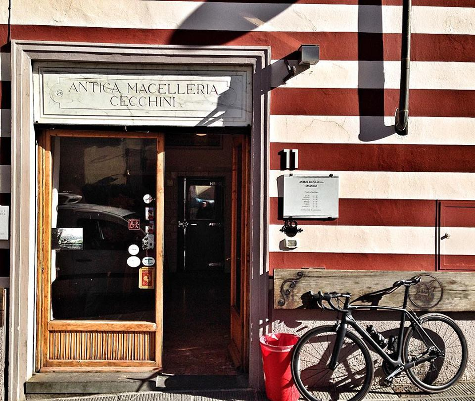 Stopping for meat at Dario Cecchini on an I Bike Italy active food adventure in Tuscany